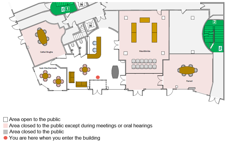 Reception area layout map. This map shows the layout of the reception area. Most areas in this map are open to the public and are shaded white. It also shows shaded light red the Maoilbhríde Room, Parnell Room and Cathal Brugha Room which are only open to the public when invited to an event or when given permission by An Bord Pleanála staff. Areas which are not open to the public are shaded light grey.